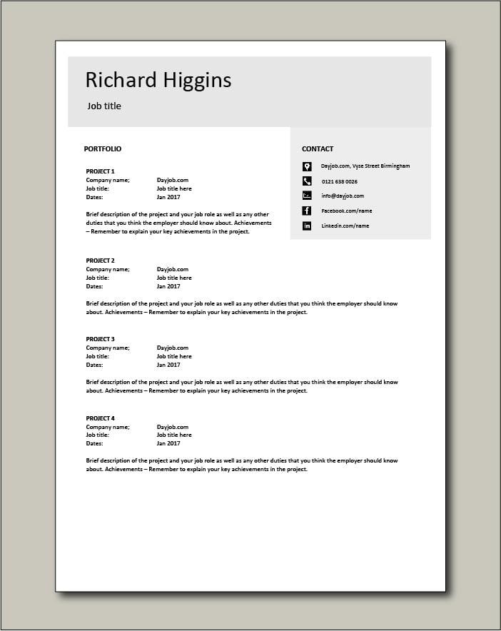 CV template 14 - Portfolio