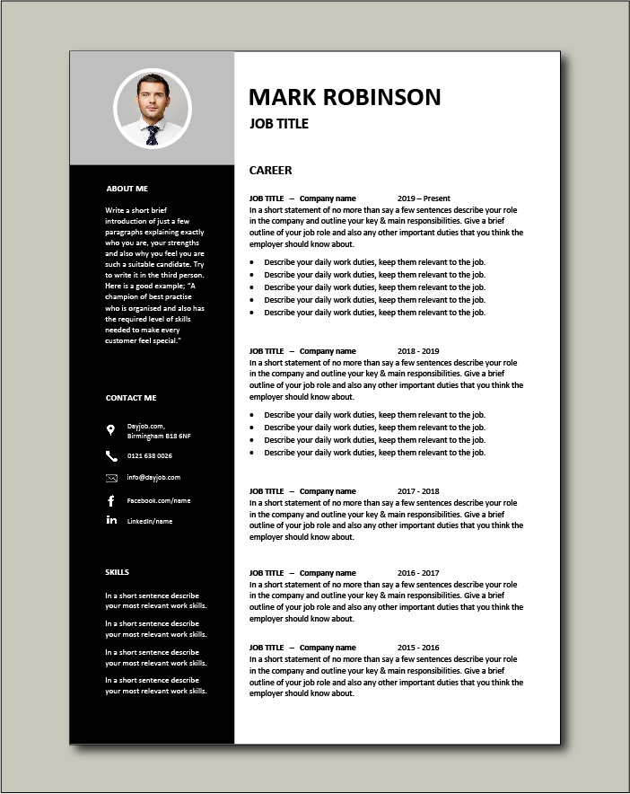 CV template 15 - 2 pages
