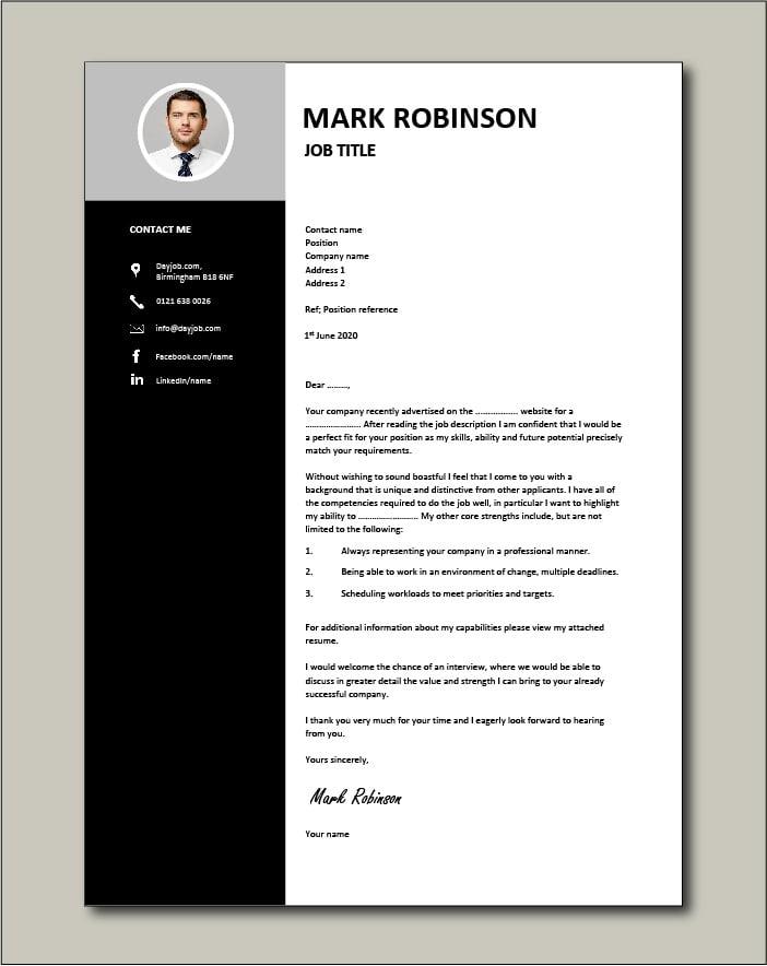 CV template 15 - Cover letter