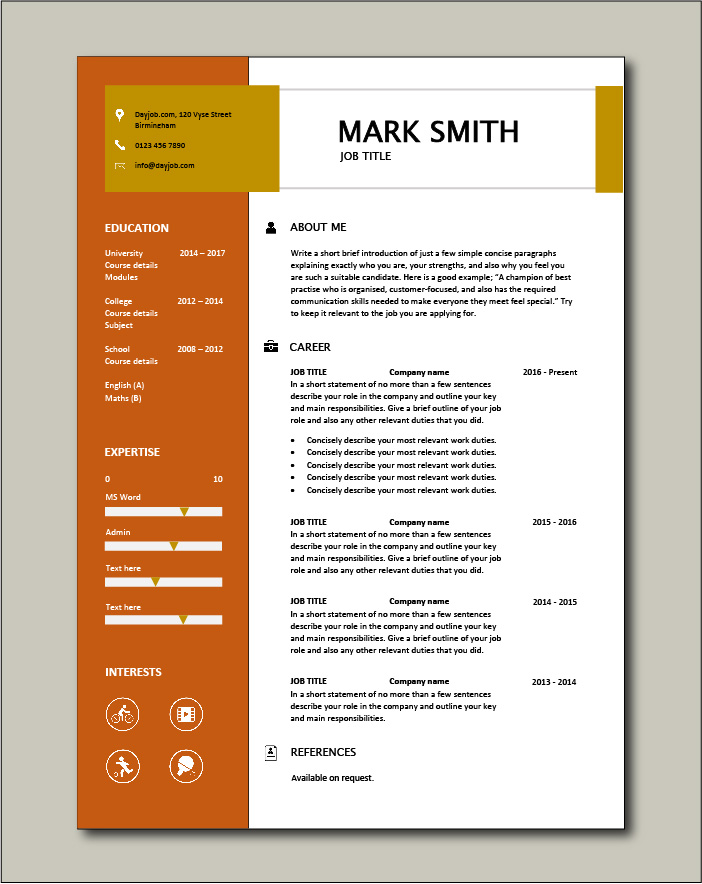 CV template 16 - 1 page
