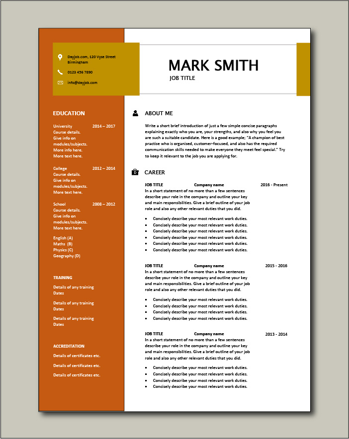 CV template 16 - 2 page