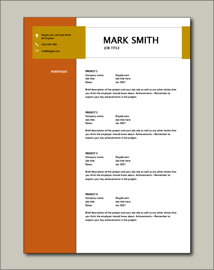 CV template 16 - Portfolio