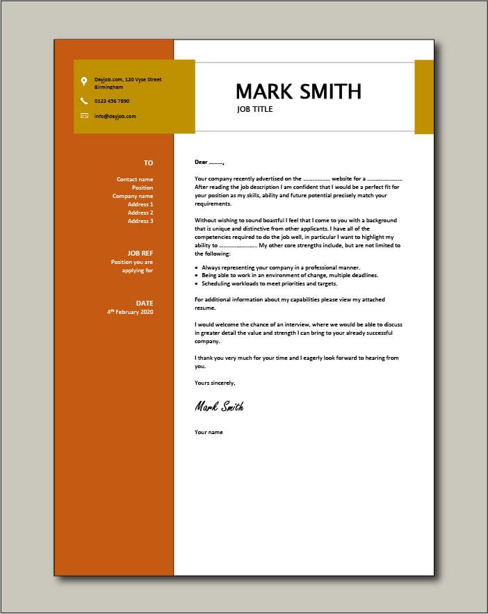 CV template 16 - cover letter