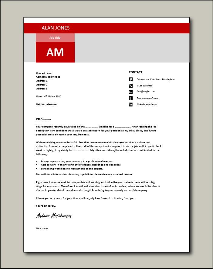 CV template 17 - Cover letter
