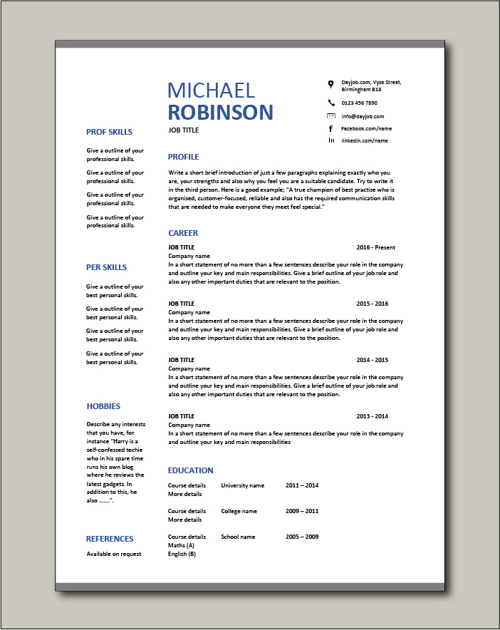 CV template 18 - 1 page