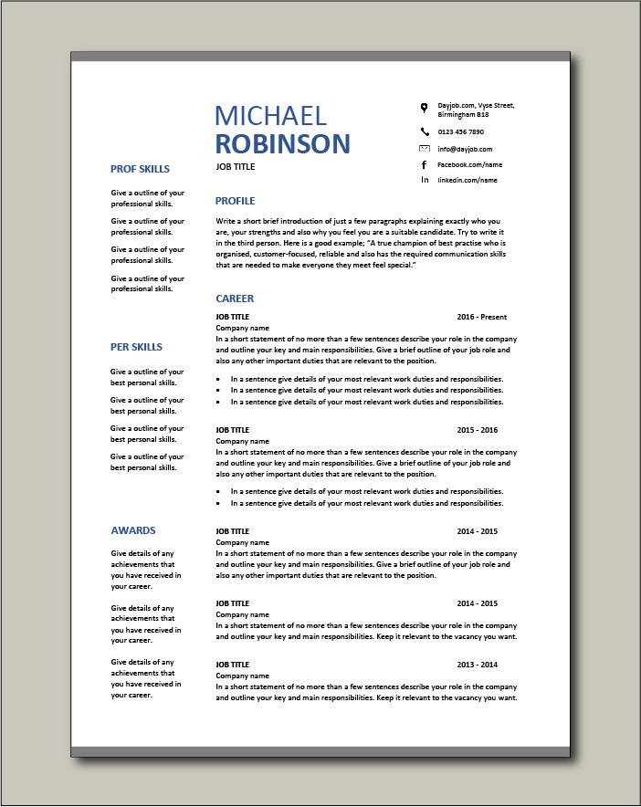 CV template 18 - 2 pages
