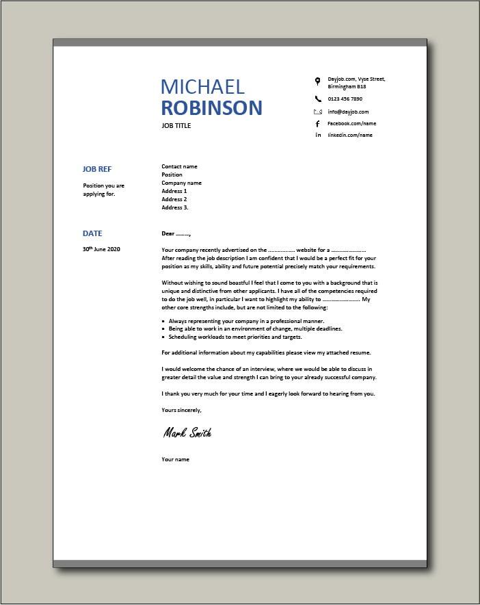 CV template 18 - Cover letter
