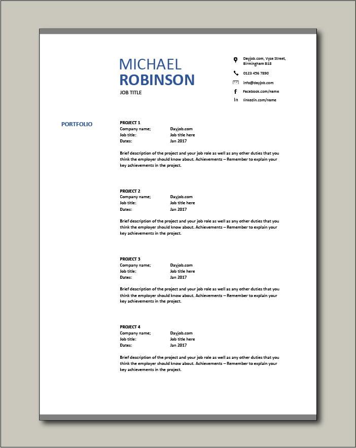 CV template 18 - Portfolio