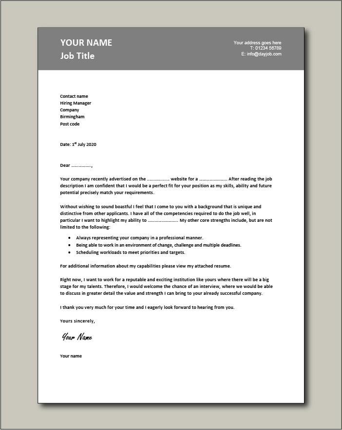 CV template 19 - Cover letter