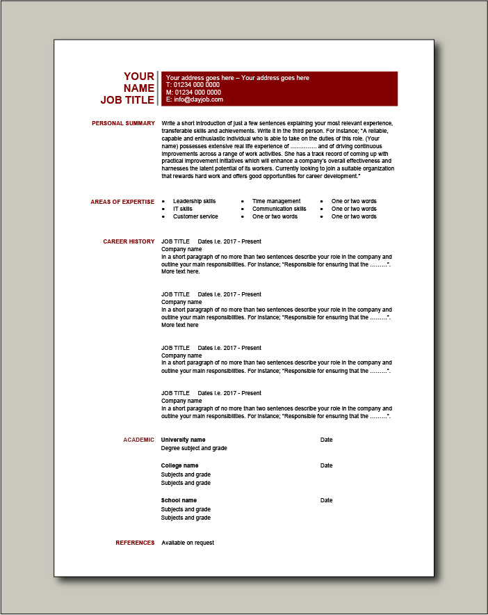 CV template 20 - 1 page