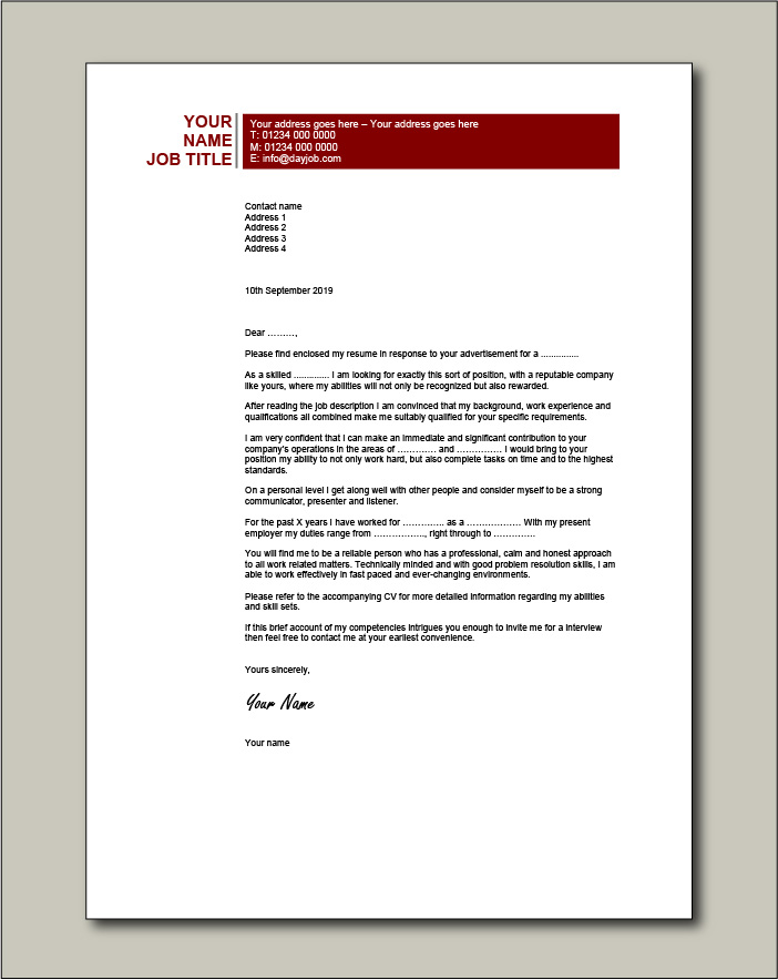 CV template 20 - Cover letter