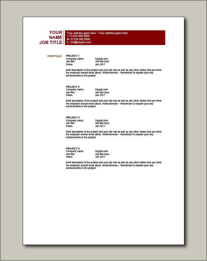 CV template 20 - Portfolio