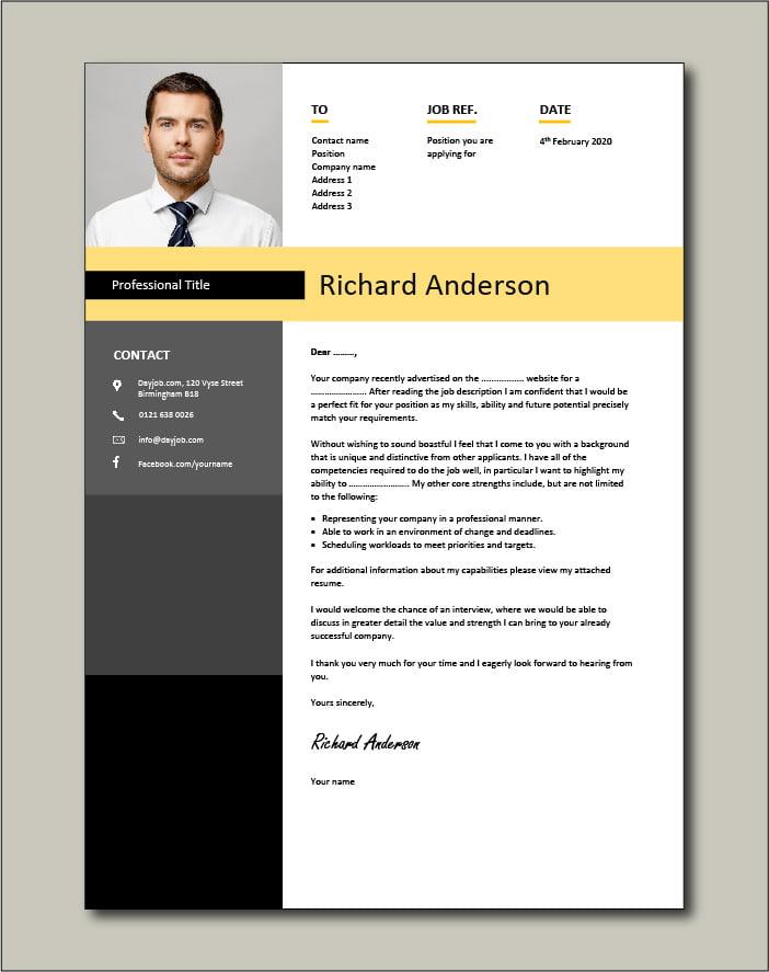CV template 21 - cover letter