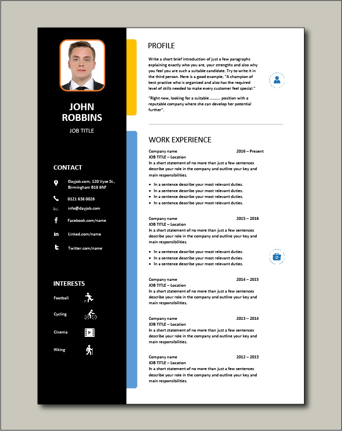 CV template 25 - 2 pages
