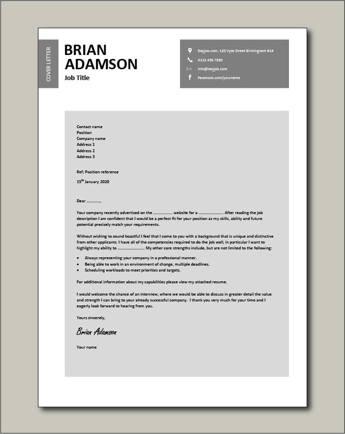 CV template 27 - cover letter