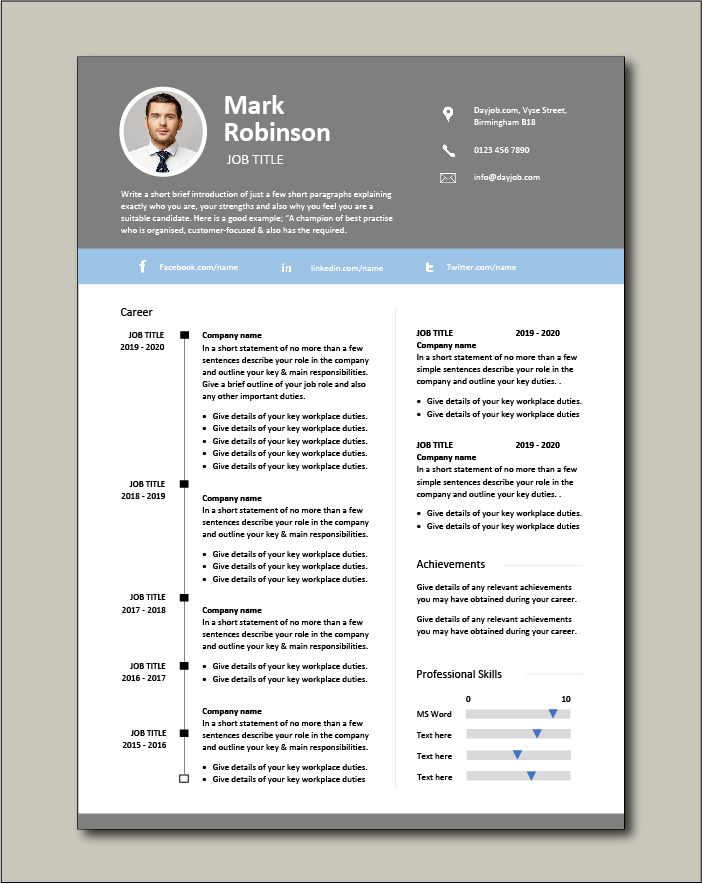 CV template 28 - 2 page