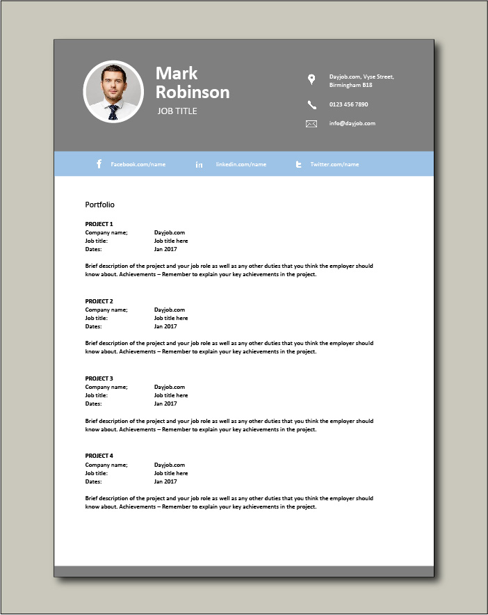 CV template 28 - Portfolio