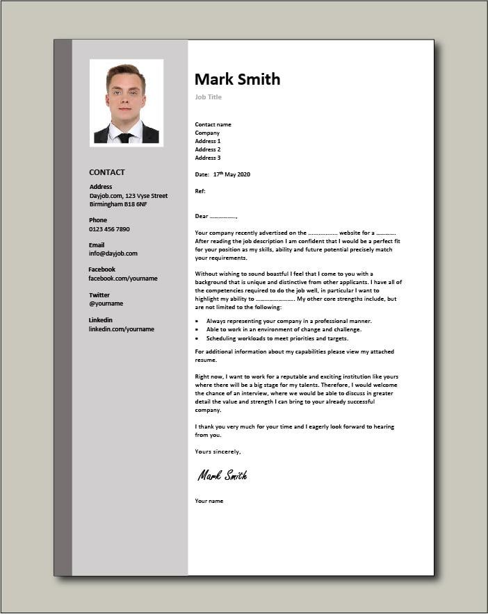 CV template 3 cover letter