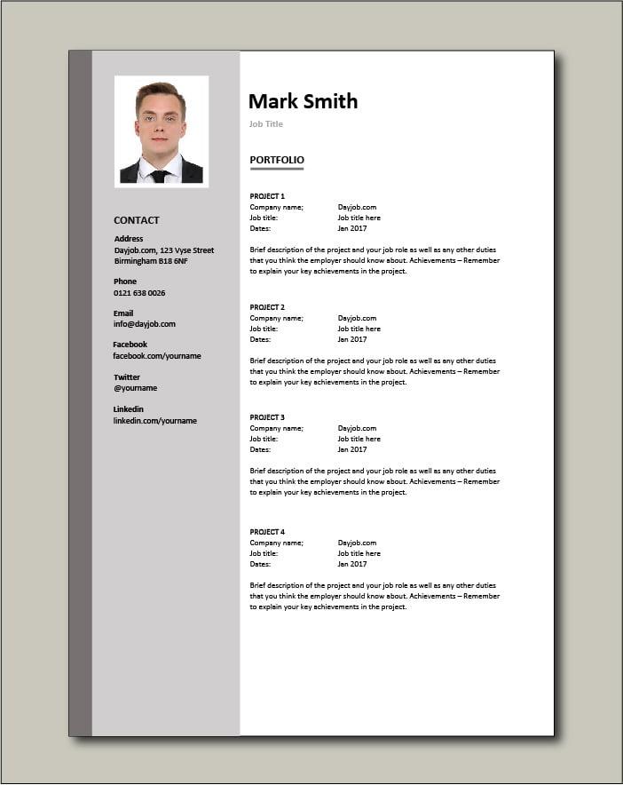 CV template 3 portfolio