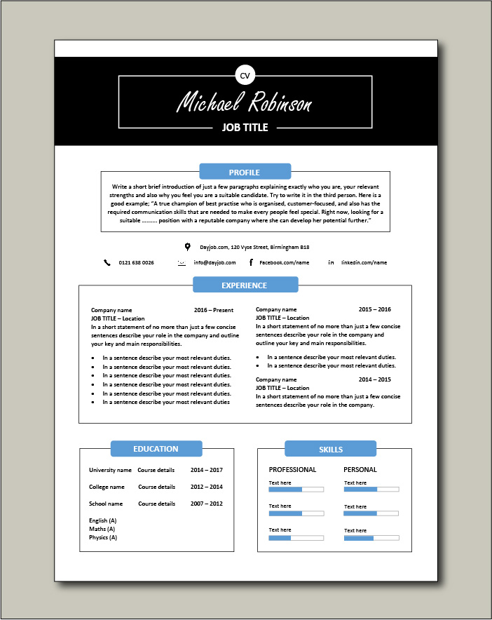 CV template 30 - 1 page