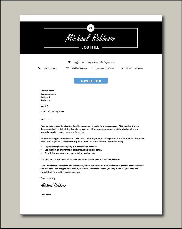 CV template 30 - cover letter