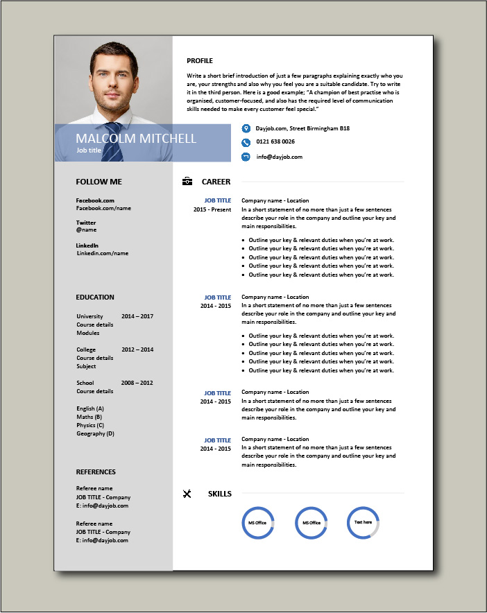 CV template 38 - 1 page