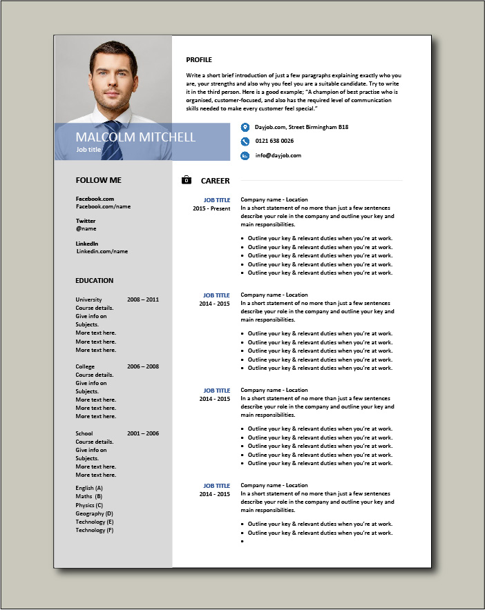 CV template 38 - 2 pages