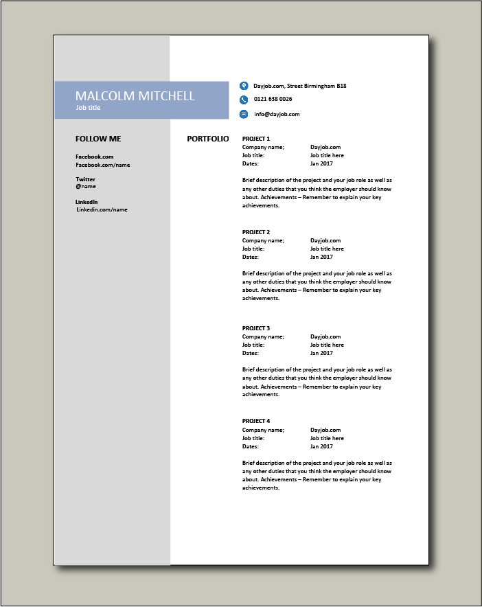 CV template 38 - Portfolio