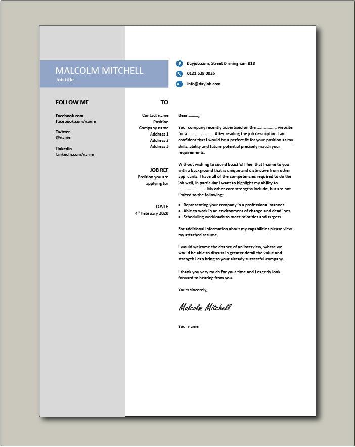 CV template 38 - cover letter