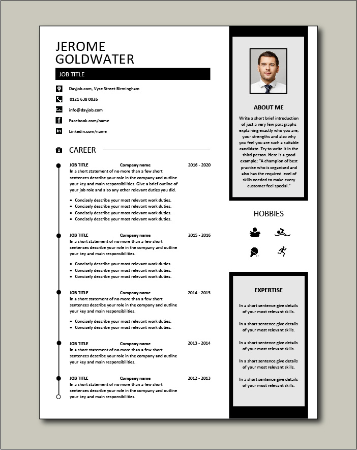 CV template 39 - 2 pages