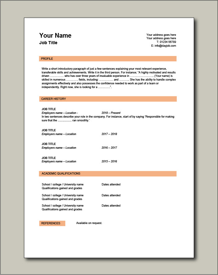 CV template 4 - 1 page