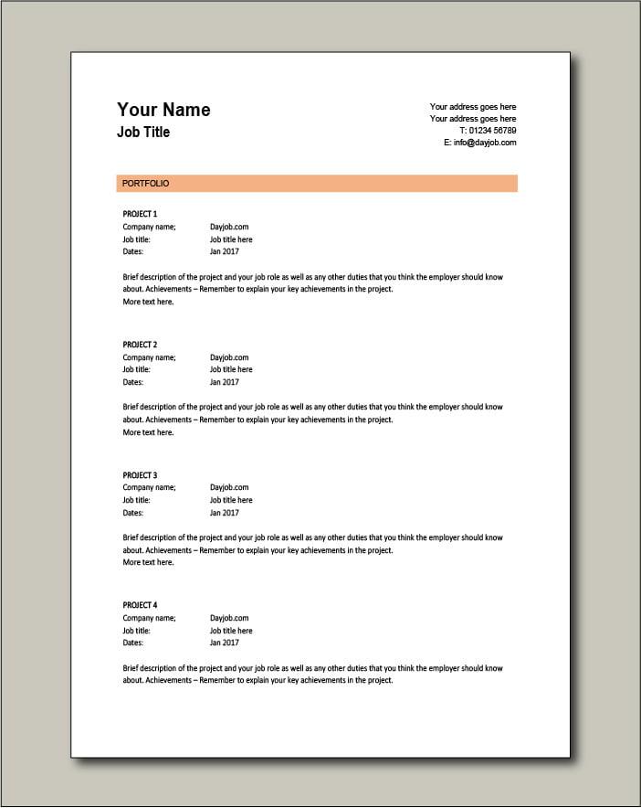 CV template 4 - Portfolio