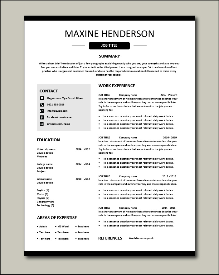 CV template 40 - 1 page