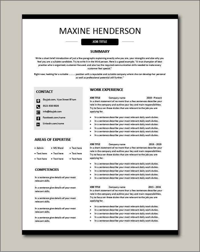 CV template 40 - 2 page.