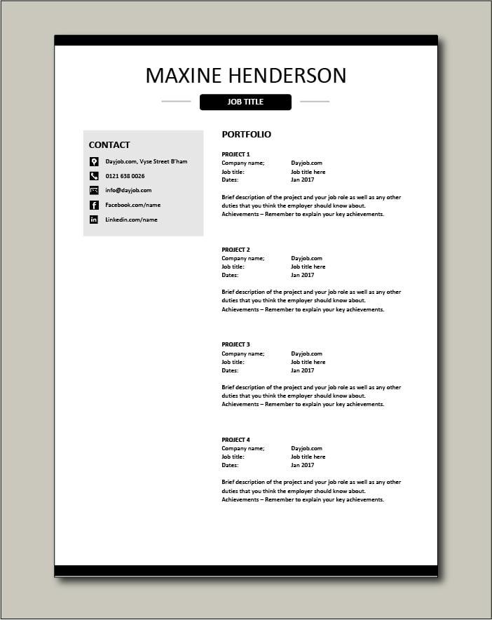 CV template 40 - Portfolio