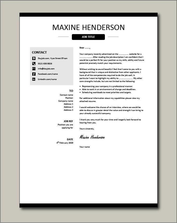 CV template 40 - cover letter