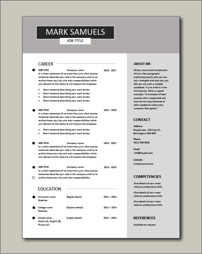 CV template 6 - 1 page