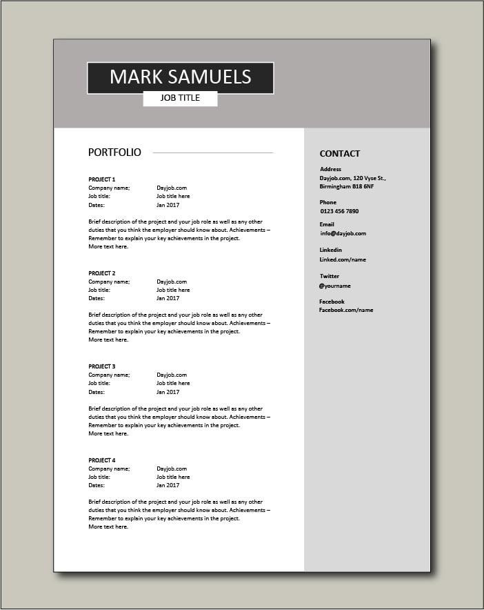CV template 6 - Portfolio