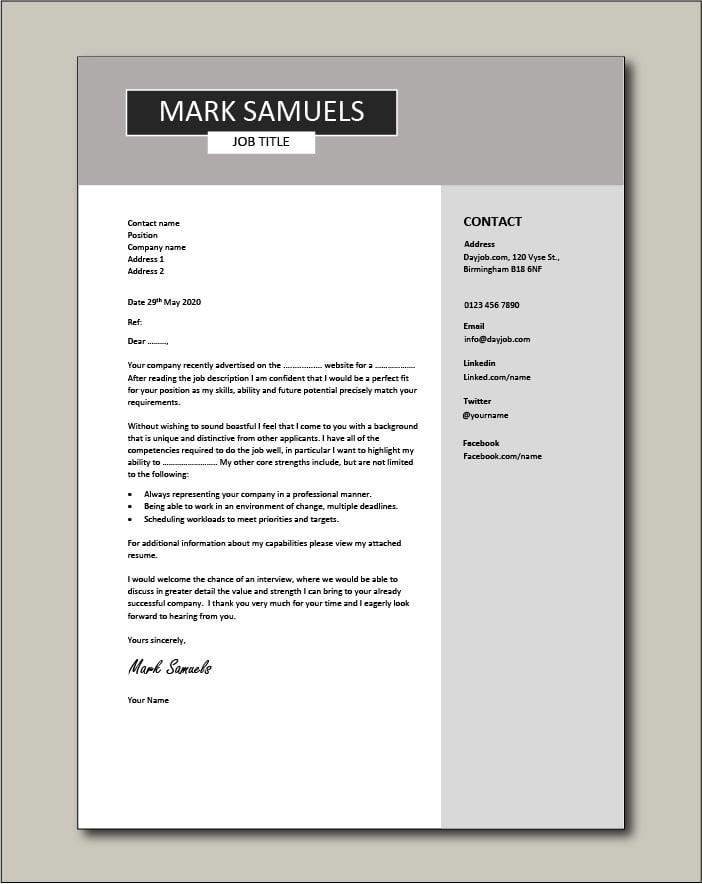 CV template 6 - cover letter