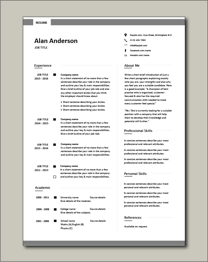 CV template 7 - 1 page