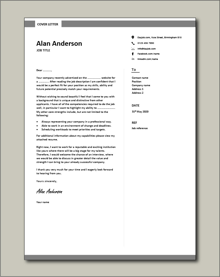 CV template 7 - Cover letter