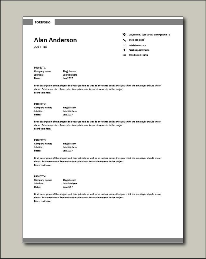 CV template 7 - Portfolio