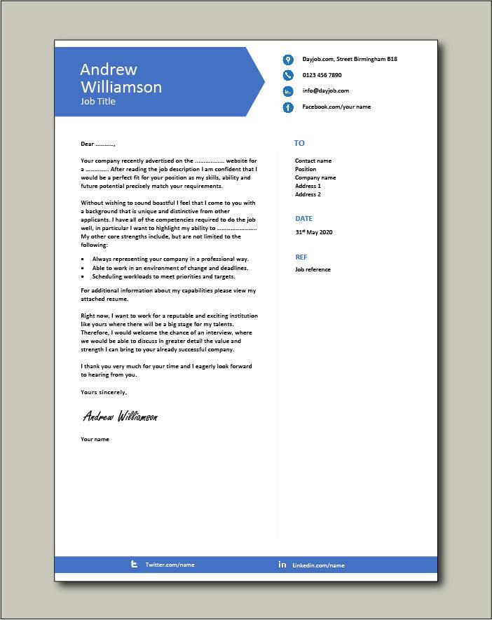 CV template 9 - Cover letter