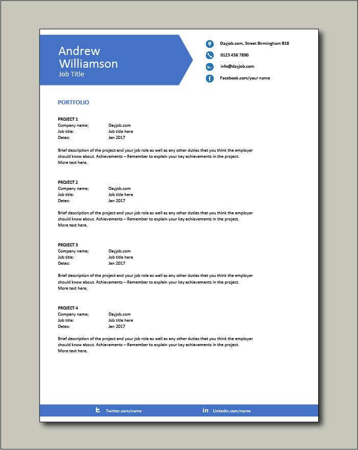 CV template 9 - Portfolio