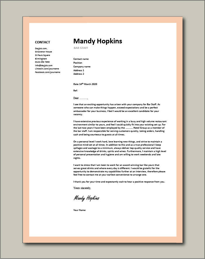 Free Bar Staff cover letter example 5