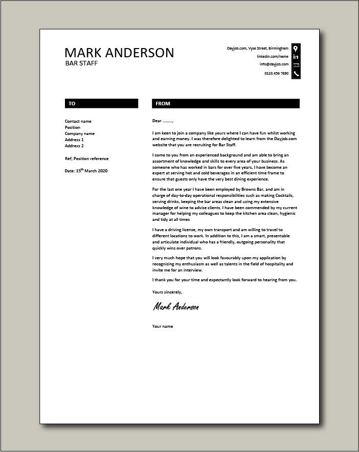 Free Bar Staff cover letter example 8