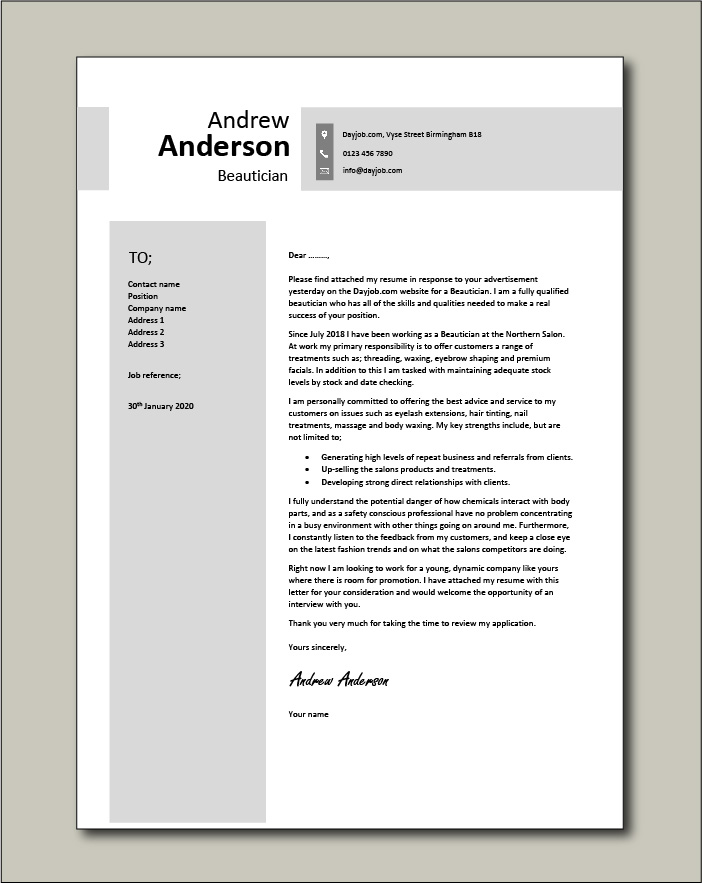 Free Beautician cover letter example 5