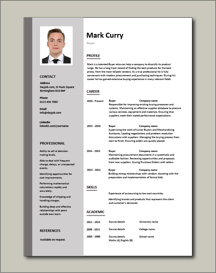 Buyer Resume Sample Template Example Job Description Key