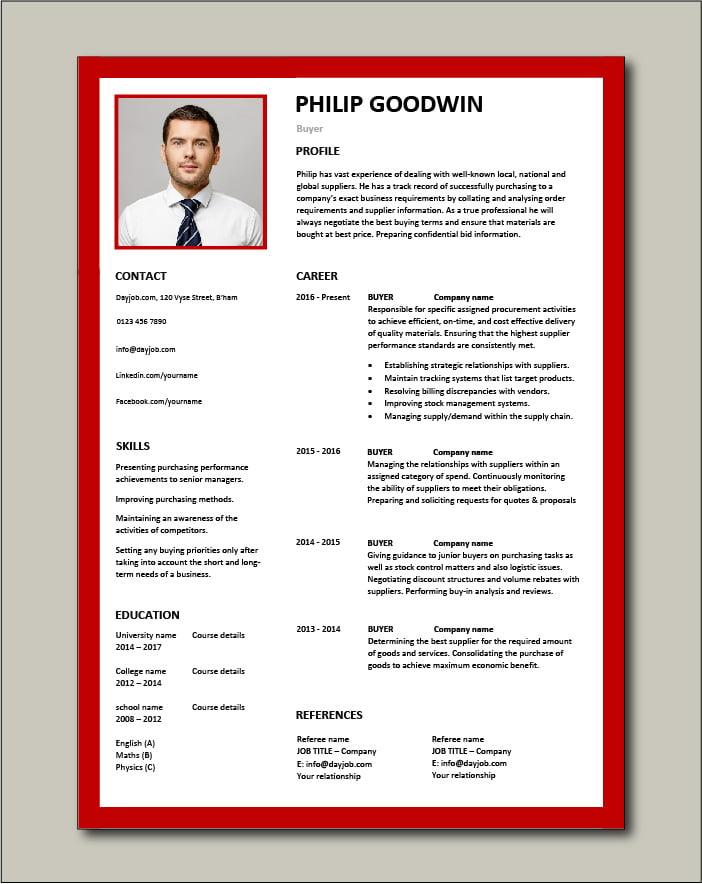 Free Buyer CV template 6