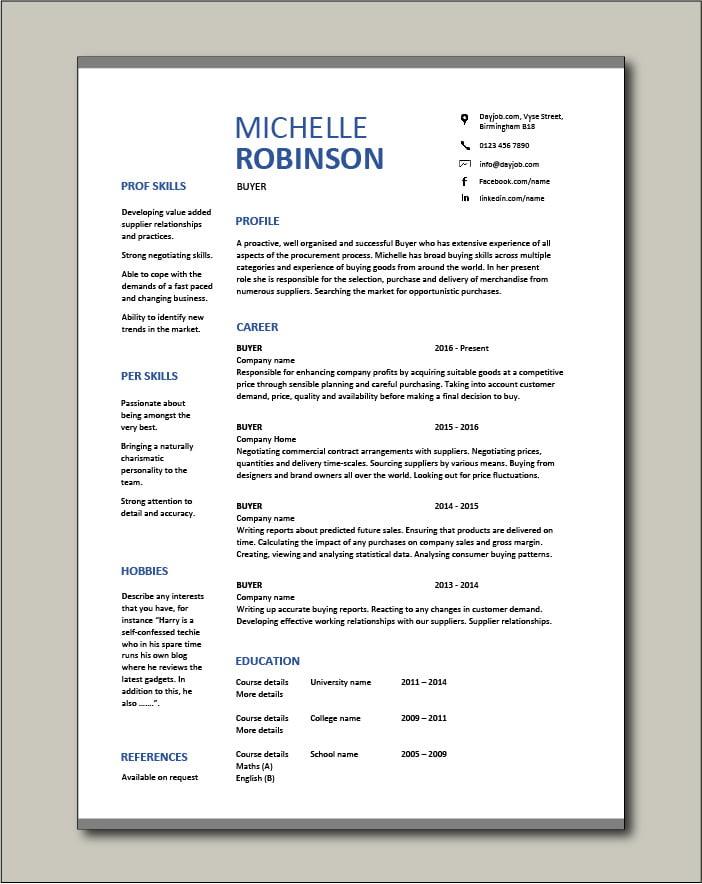 Free Buyer CV template 8